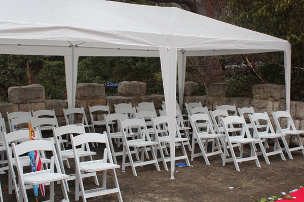 White folding chairs for hire